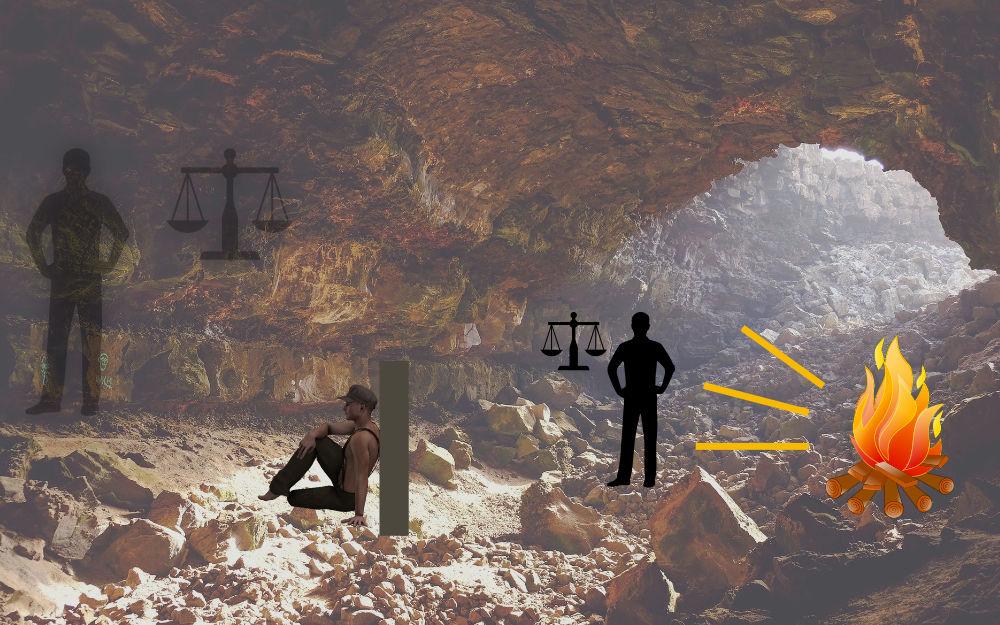Platons Höhlengleichnis, eigene Darstellung & Pixabay